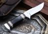 Alan Warren Custom Knives: #2422 Trailing Point Hunter - African Blackwood - Ironwood & Giraffe Bone Spacers - CPM-154