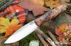 Bark River Knives: UP Gunny - Rose & Beige Maple Burl - Mosaic Pins