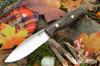 Bark River Knives: UP Gunny - Snakeskin Burgundy Canvas Micarta - Yellow Liners - Brass Pins