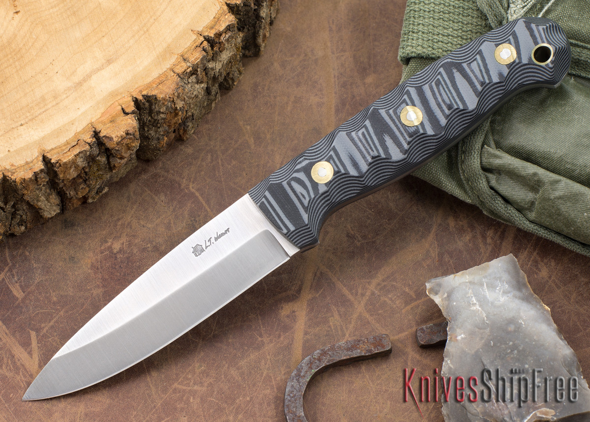 L.T. Wright Knives: GNS 3V - Saber Grind - Cool Gray & Black Mountain G-10 primary image