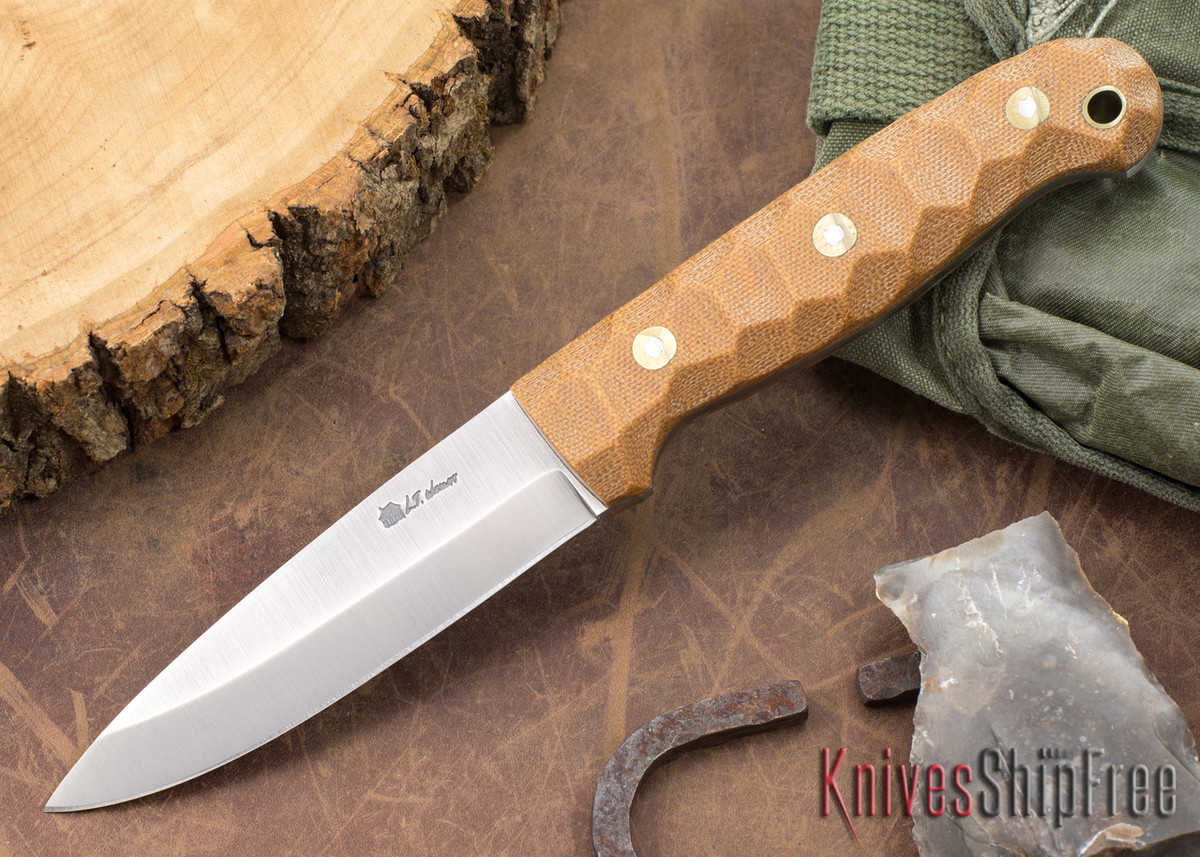 L.T. Wright Knives: GNS 3V - Saber Grind - Natural Canvas Mountain Micarta primary image