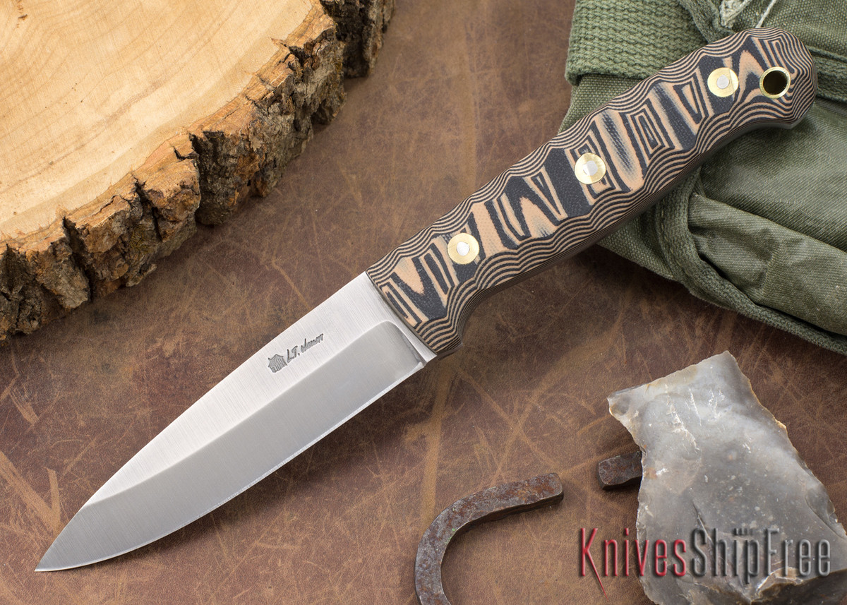L.T. Wright Knives: GNS 3V - Saber Grind - Coyote & Black Mountain G-10 primary image