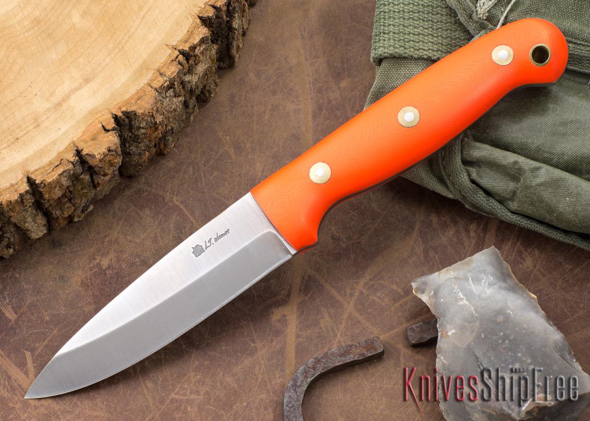 L.T. Wright Knives: GNS 3V - Saber Grind - Orange G-10 - Matte primary image