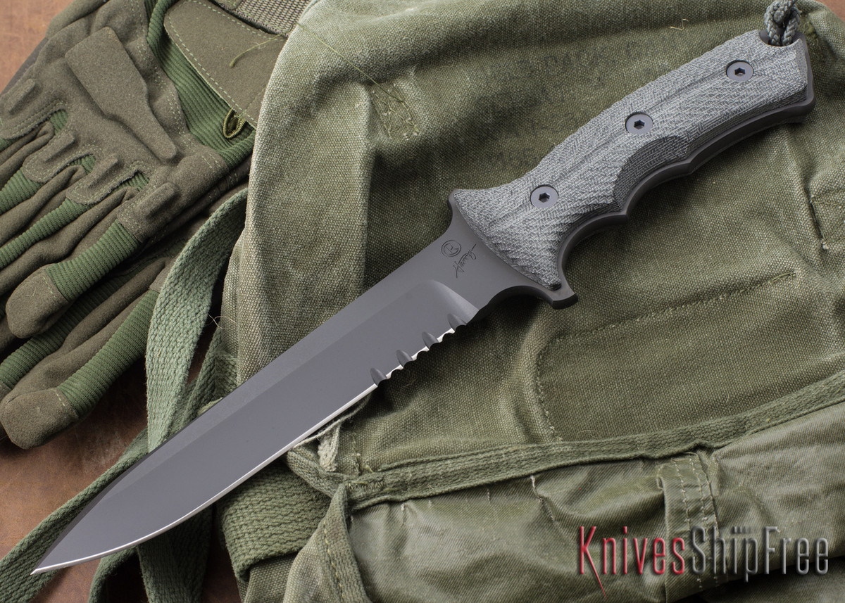 "Chris Reeve Knives: Green Beret - 7"" - Black KG GunKote - Serrated primary image"