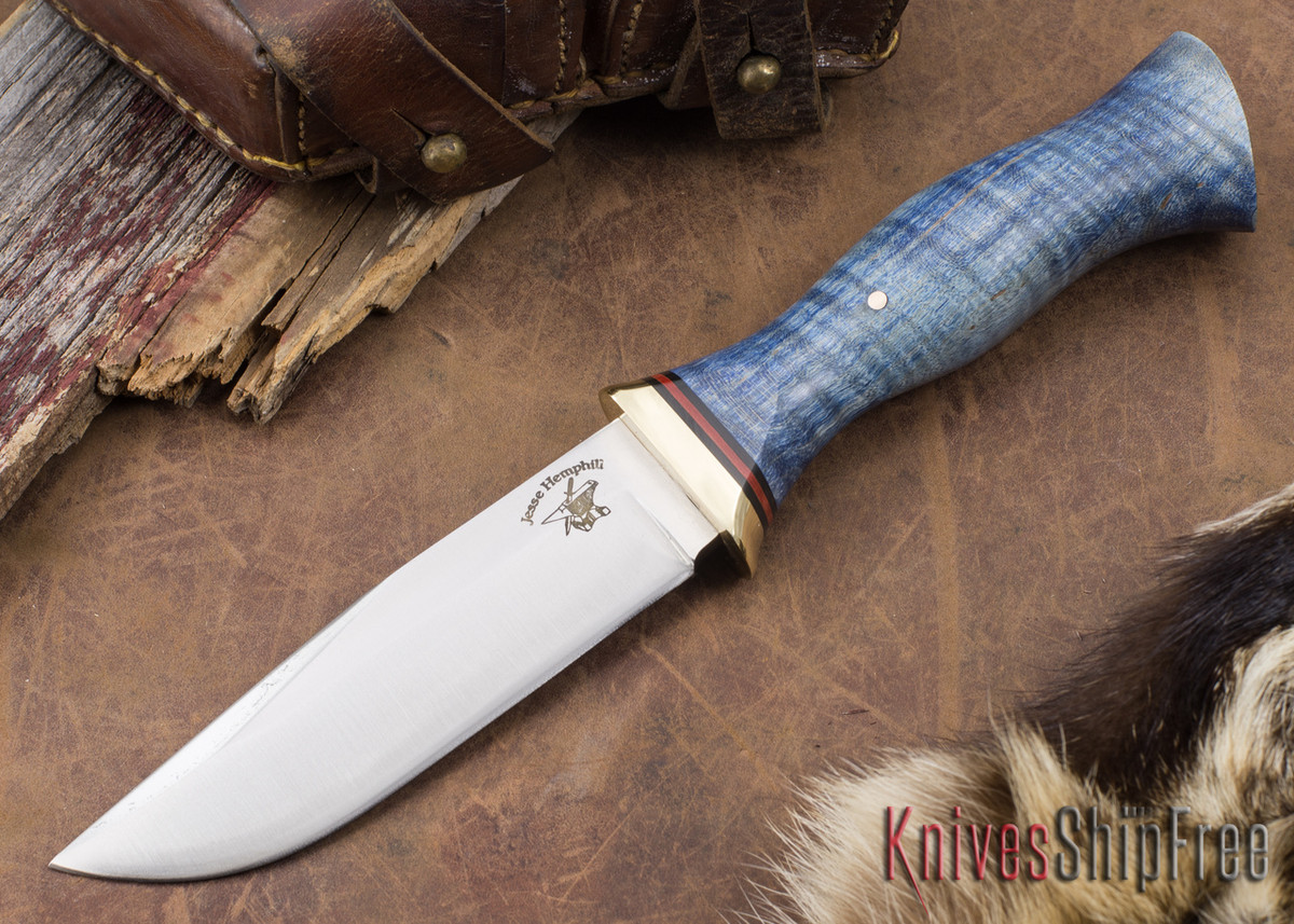 Jesse Hemphill Knives: Town Creek II - Blue Curly Maple primary image