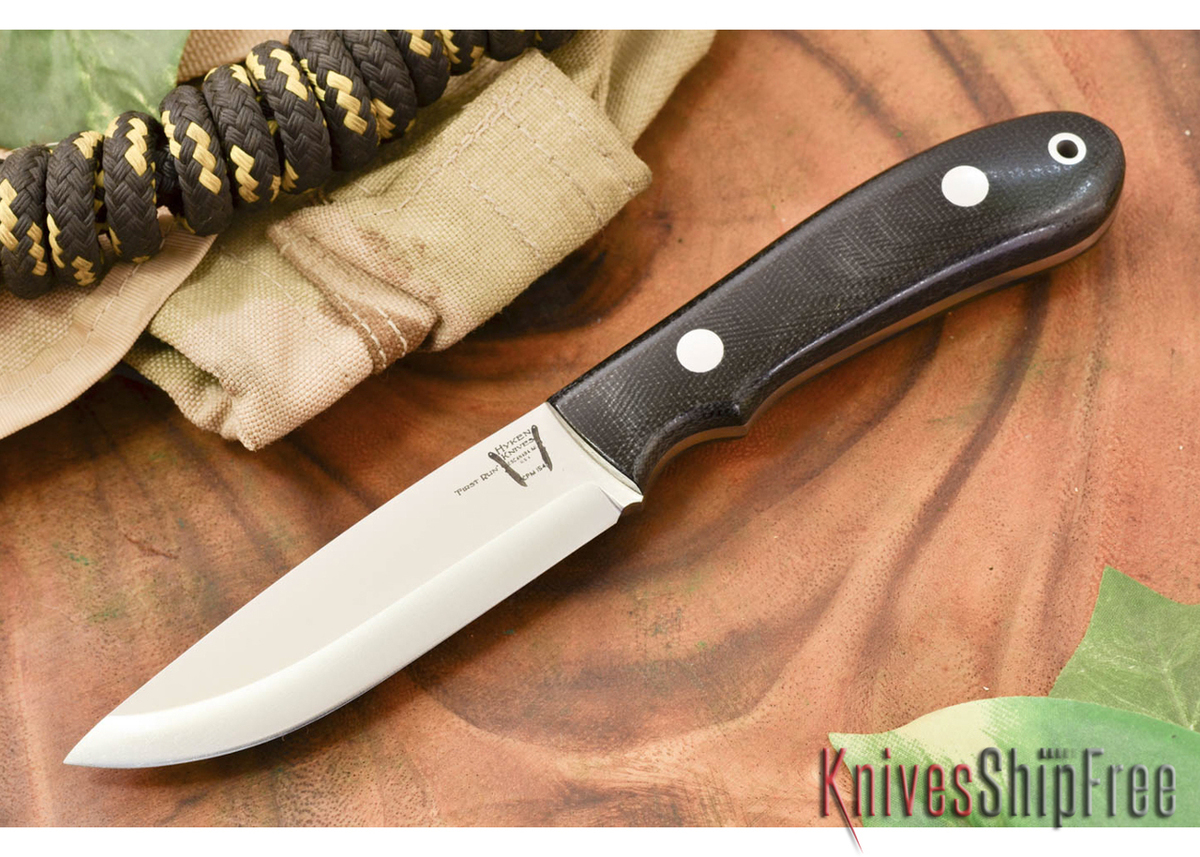 Hyken Knives: Bushcrafter CPM-154 - Black Canvas Micarta primary image