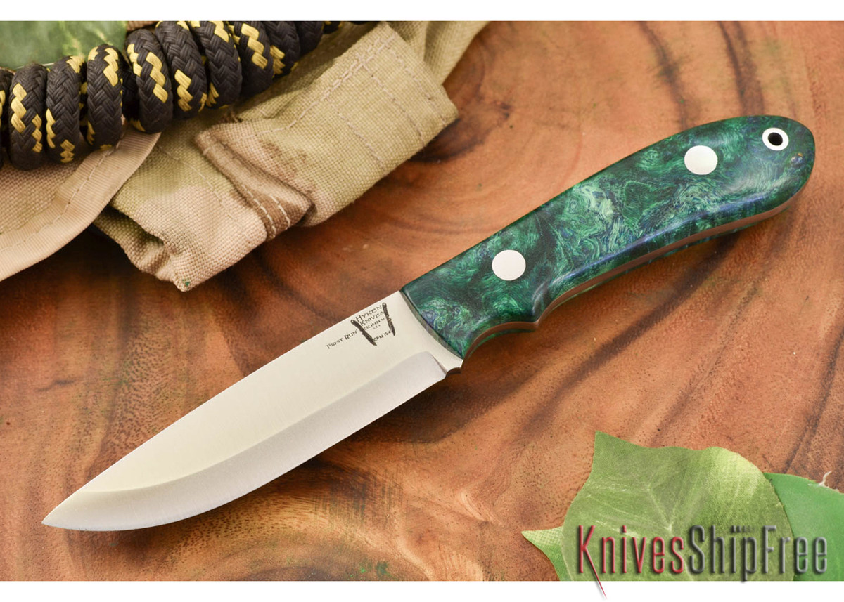 Hyken Knives: Bushcrafter CPM-154 - Green & Gold Maple Burl #2 primary image