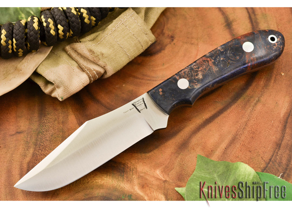 Hyken Knives: Harpoon CPM-154 - Black & Scarlet Maple Burl #1
