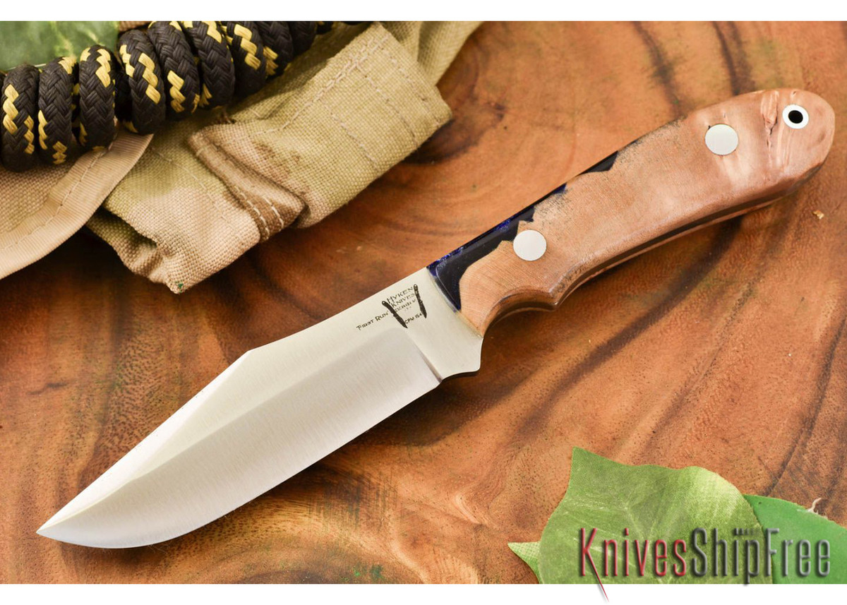Hyken Knives: Harpoon CPM-154 - Natural Maple Burl / Deep Blue Acrylic Hybrid primary image