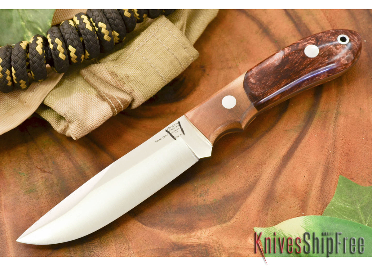 Hyken Knives: Lite Hunter CPM-154 - Natural Maple Burl / Copper Acrylic Hybrid primary image