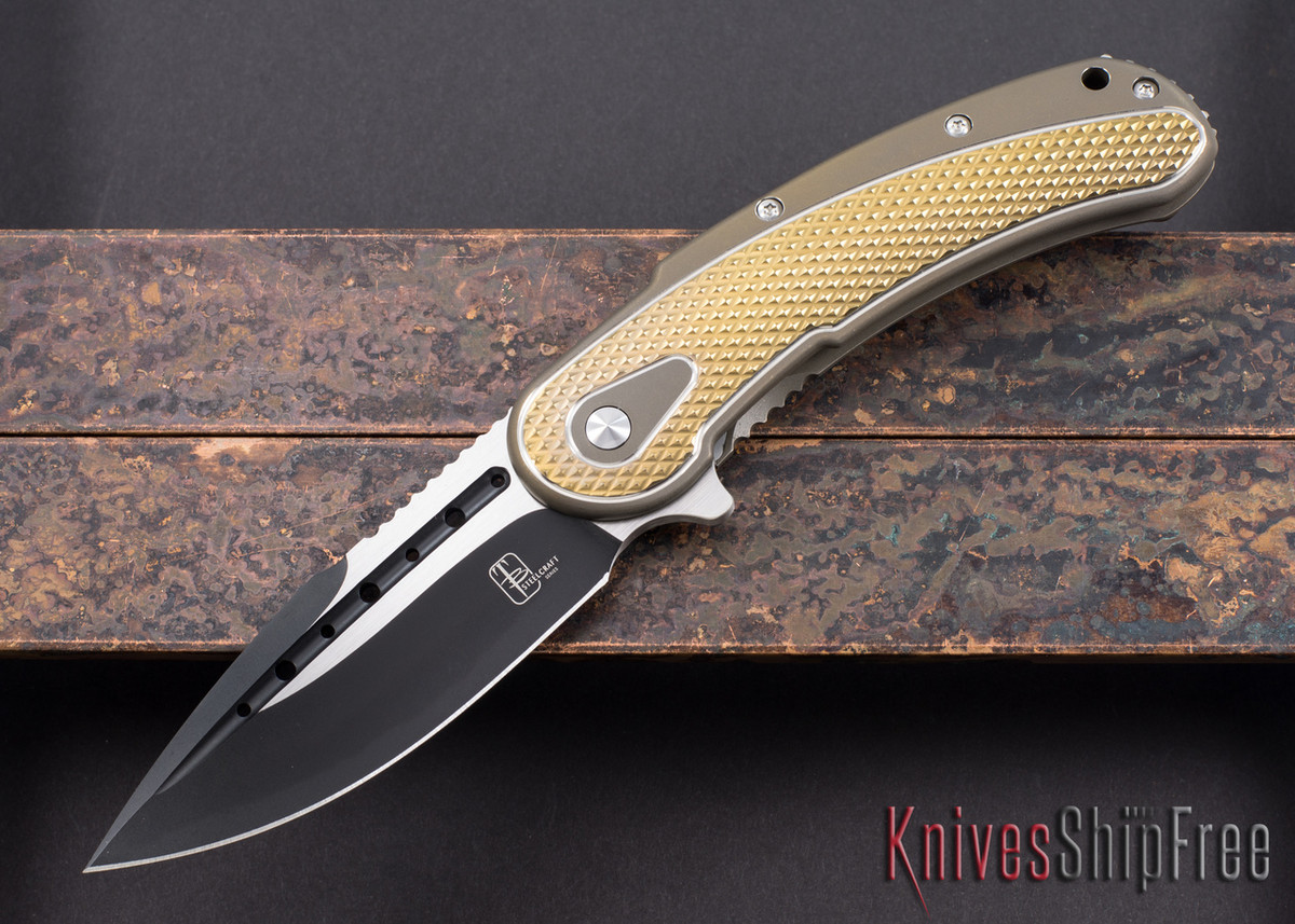 Todd Begg Knives: Steelcraft Series - Bodega - Bronze Frame - Gold Diamond Pattern - Two-Tone Blade primary image