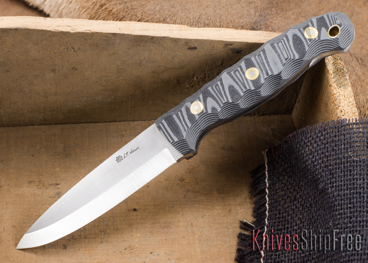 L.T. Wright Knives: GNS 3V - Scandi Grind - Gray & Black Mountain G-10 primary image