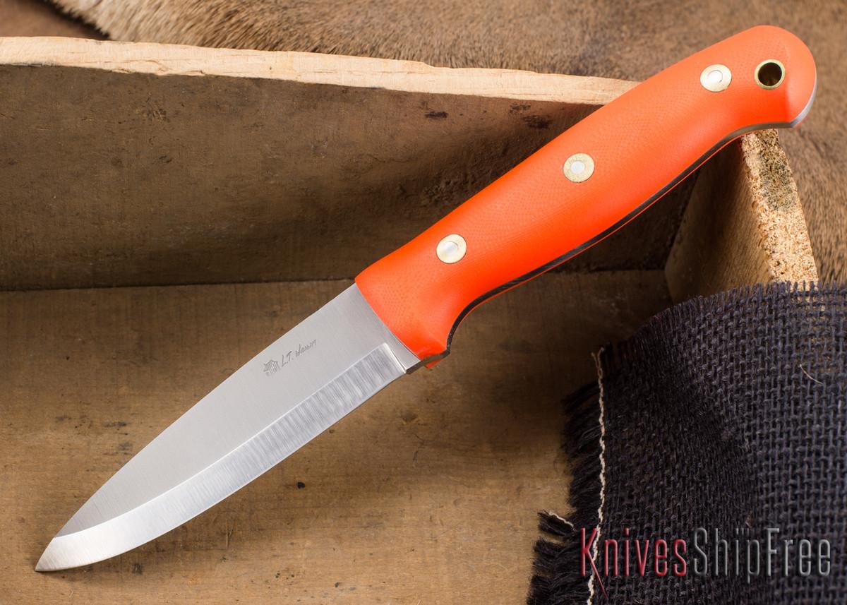 L.T. Wright Knives: GNS 3V - Scandi Grind - Orange G-10 - Matte primary image