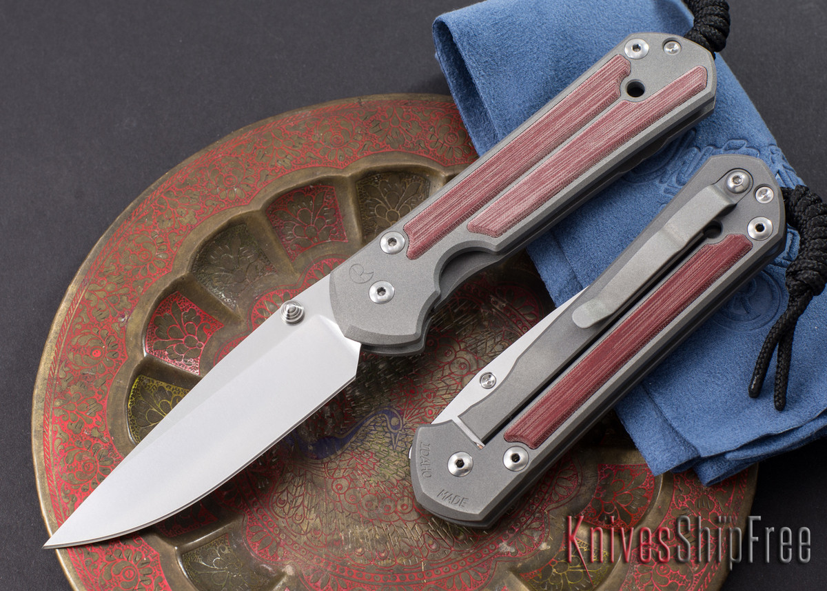 Chris Reeve Knives: Large Sebenza 21 - Red Linen Micarta Inlay primary image