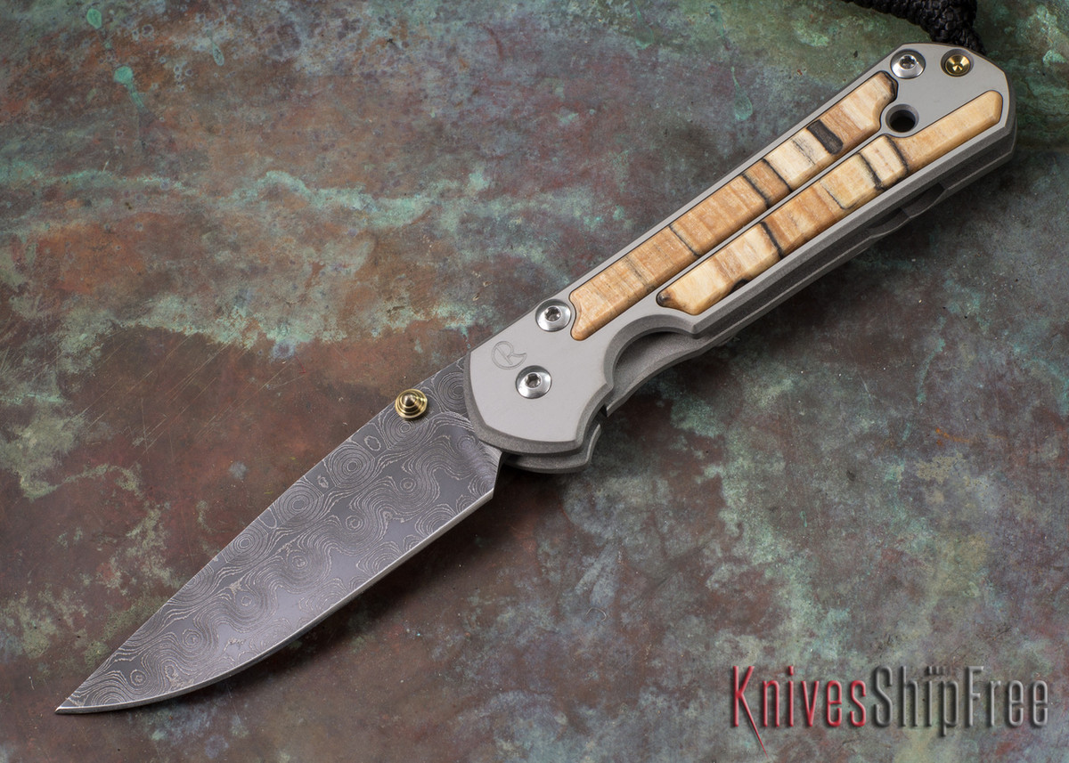 Chris Reeve Knives: Small Sebenza 21 - Spalted Beech - Raindrop Damascus - 052303 primary image