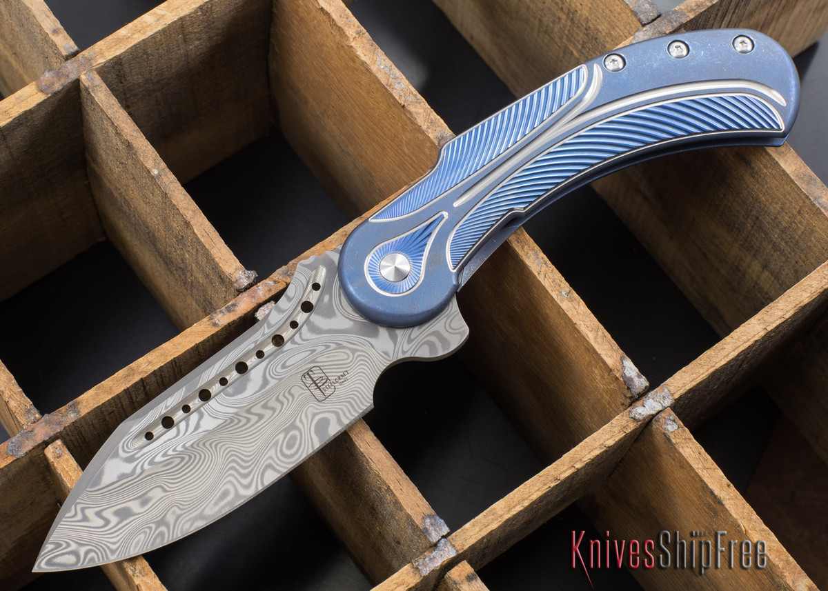 Todd Begg Knives: Steelcraft Series - Field Marshall - Blue & Silver Titanium - Thor Damasteel - 1 primary image