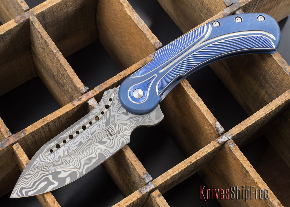 Todd Begg Knives: Steelcraft Series - Field Marshall - Blue & Silver Titanium - Thor Damasteel - 5 primary image
