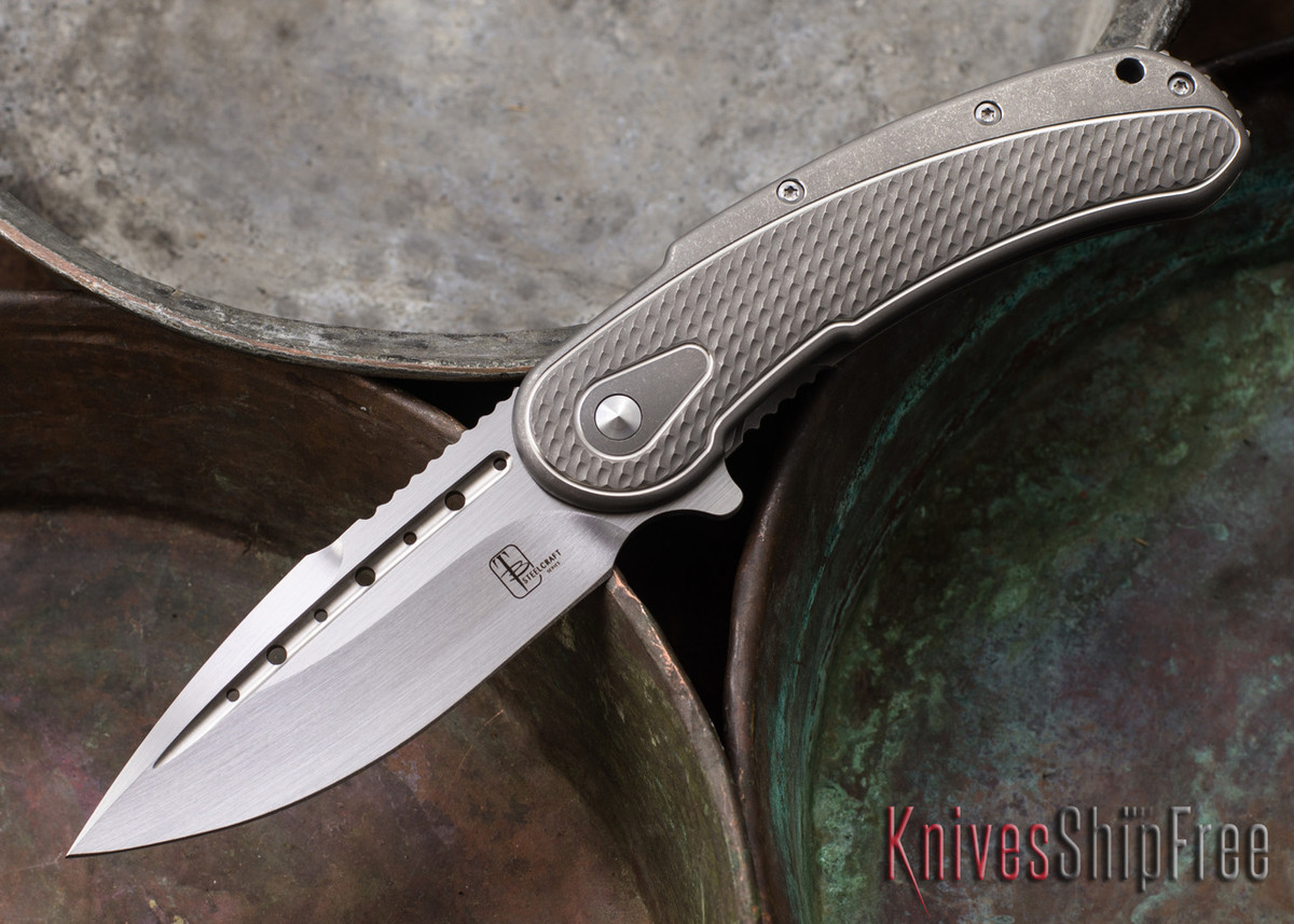 Todd Begg Knives: Steelcraft Series - Bodega - Grey Frame - Grey Scallop Pattern - Satin Blade primary image