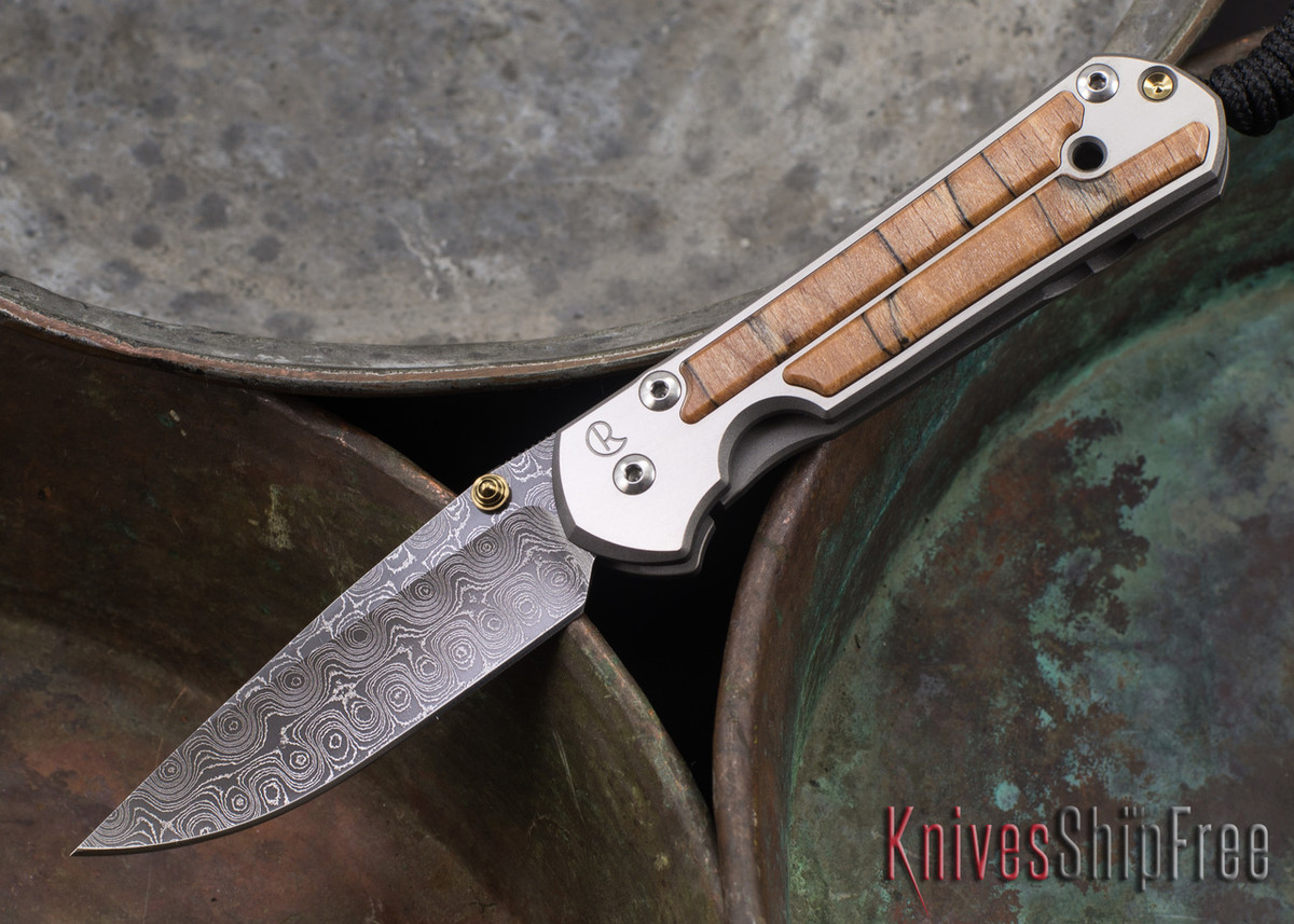 Chris Reeve Knives: Small Sebenza 21 - Spalted Beech - Raindrop Damascus - 071417 primary image