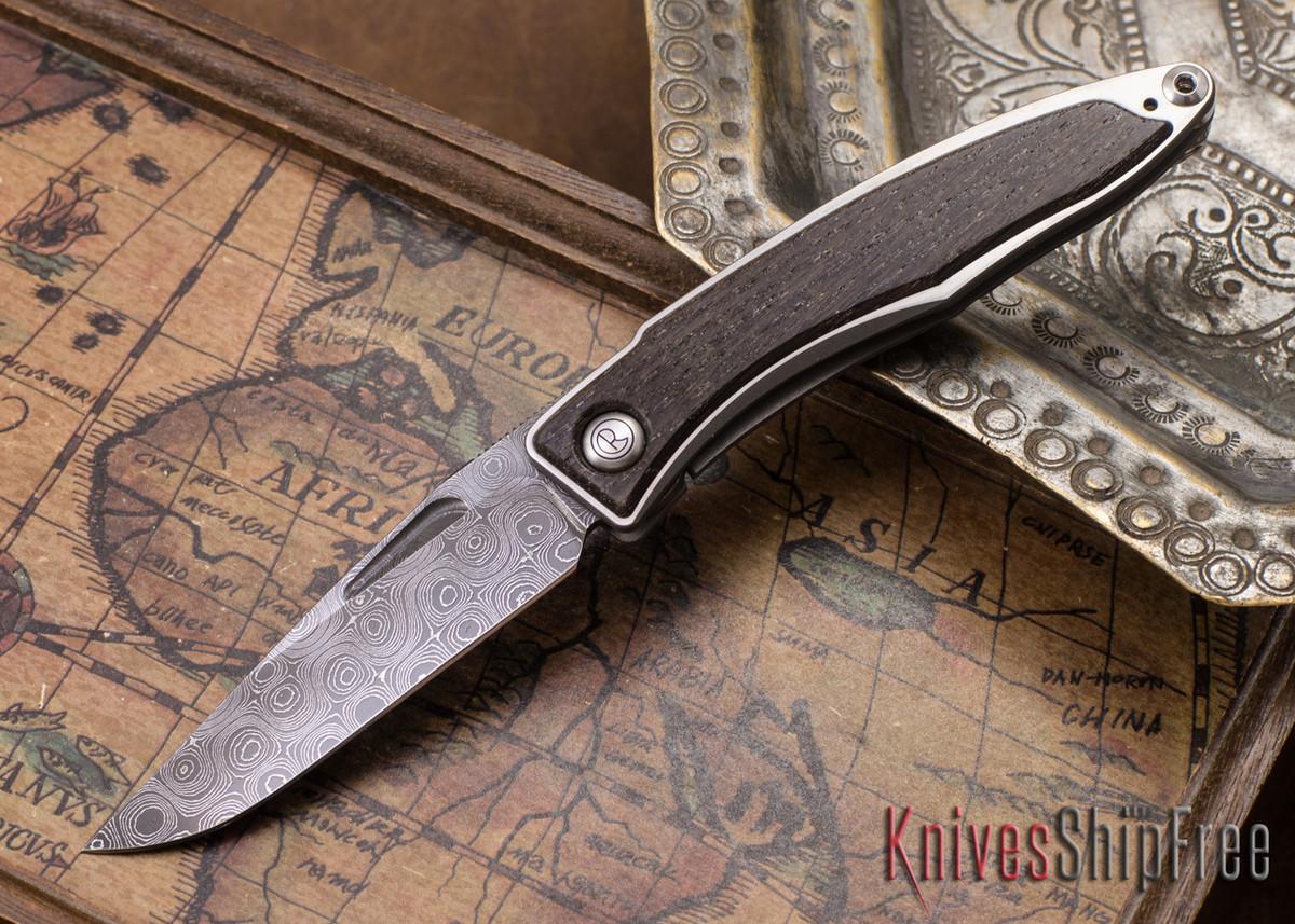 Chris Reeve Knives: Mnandi - Bog Oak - Chad Nichols Raindrop Damascus - 081135 primary image