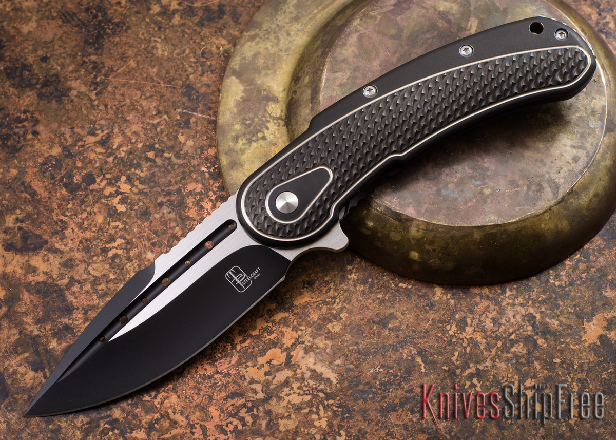 Todd Begg Knives: Steelcraft Series - Bodega - Black Frame - Black Scallop Pattern - Two-Tone Blade primary image