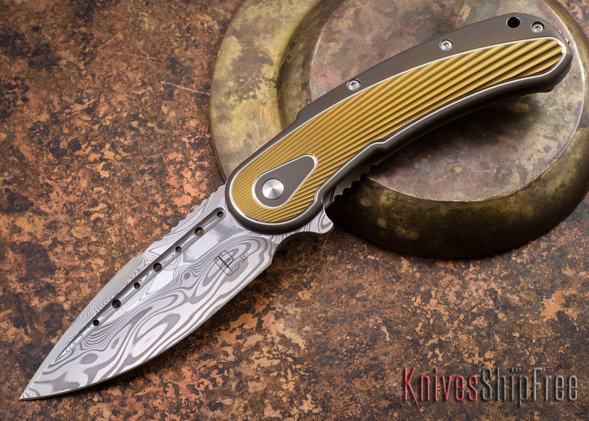 Todd Begg Knives: Steelcraft Series - Bodega - Bronze Frame - Gold Fan Pattern - Damasteel - 019 primary image