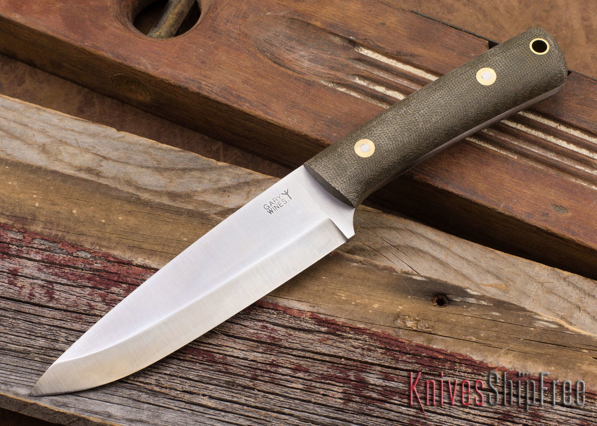 L.T. Wright Knives: Gary Wines Bush Hunter - O-1 Steel - Scandi Grind - Green Micarta - Matte primary image