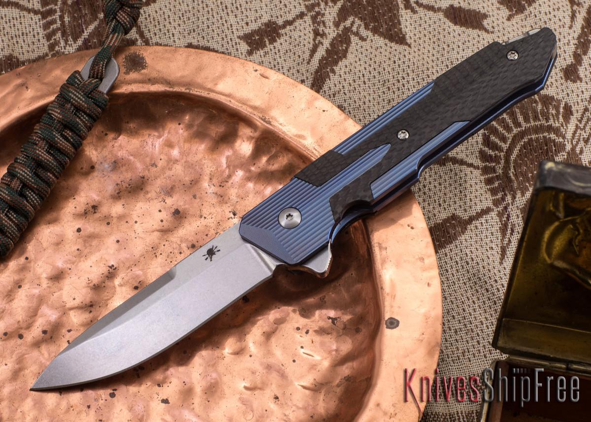 Spartan Blades: Kranos - Blue Anodized Titanium - Carbon Fiber primary image