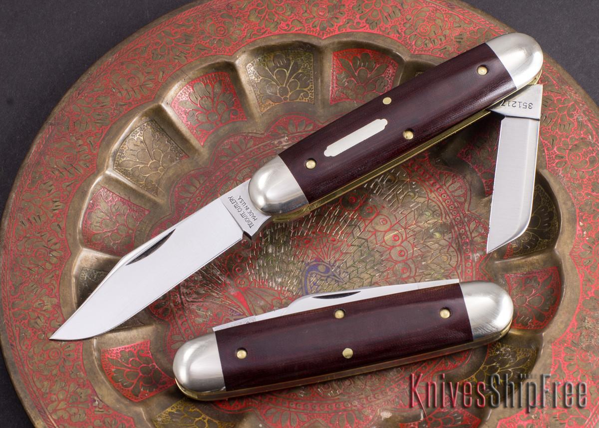 Great Eastern Cutlery: #35 Churchill - Maroon Linen Micarta primary image