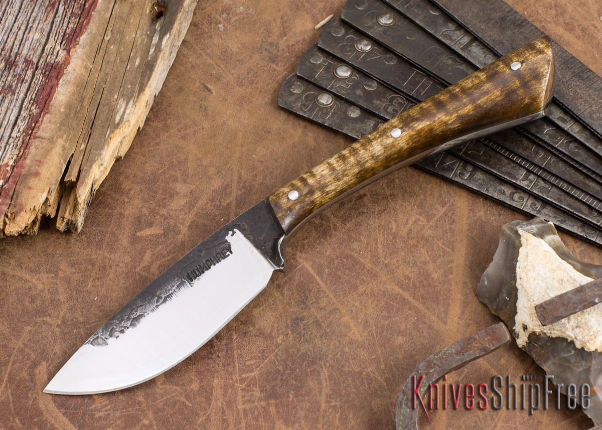 Lon Humphrey Knives: Custom Muley - Forged 52100 - Dark Curly Maple #209 primary image