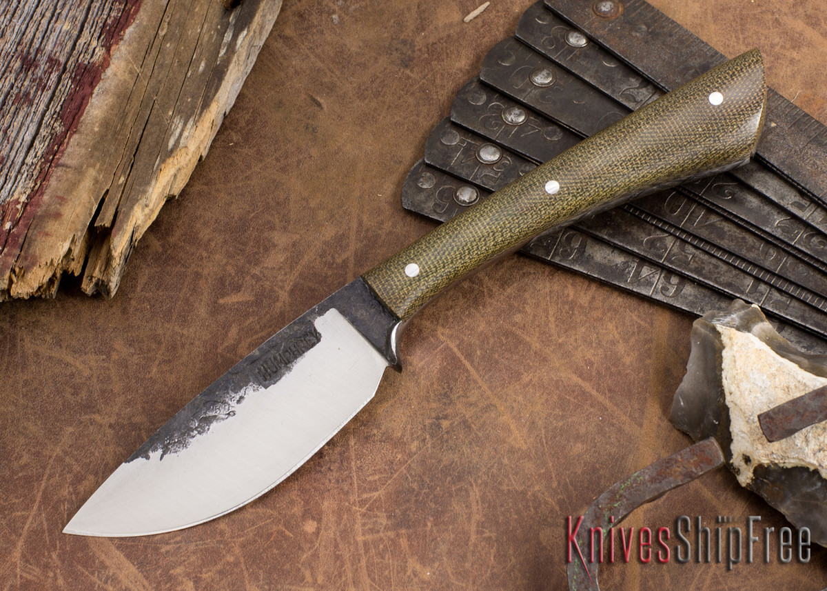 Lon Humphrey Knives: Custom Muley - Forged 52100 - Green Canvas Micarta - Drop Point primary image