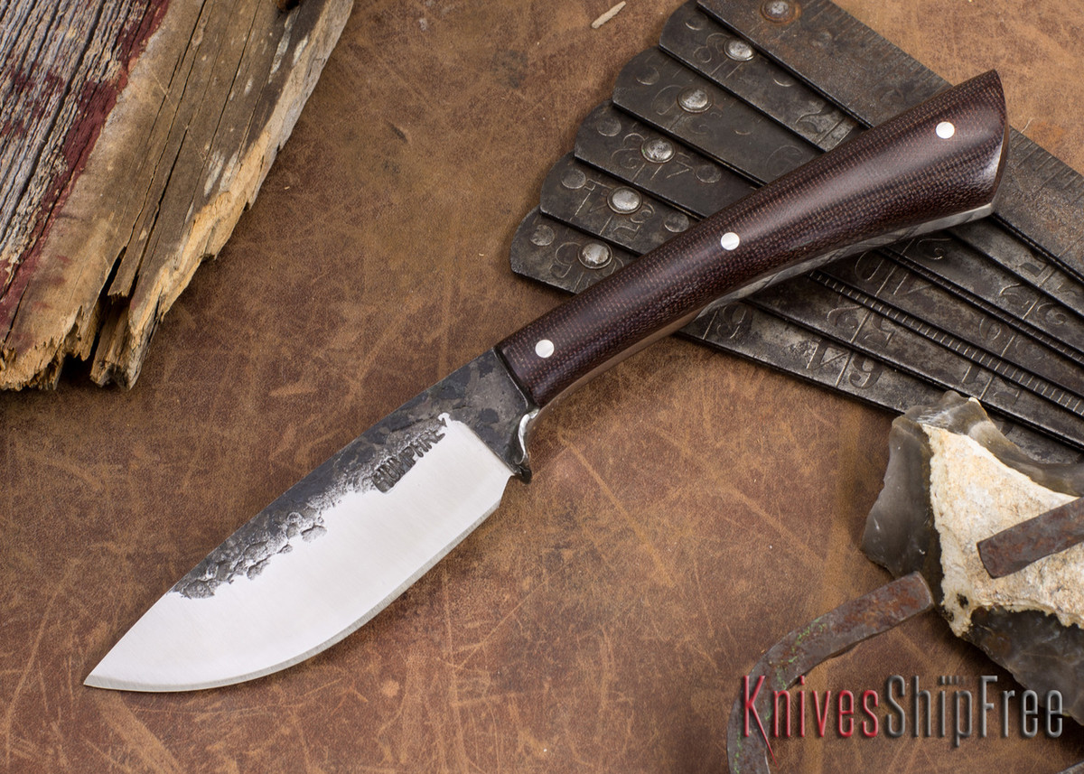 Lon Humphrey Knives: Custom Muley - Forged 52100 - Maroon Linen Micarta - Drop Point primary image