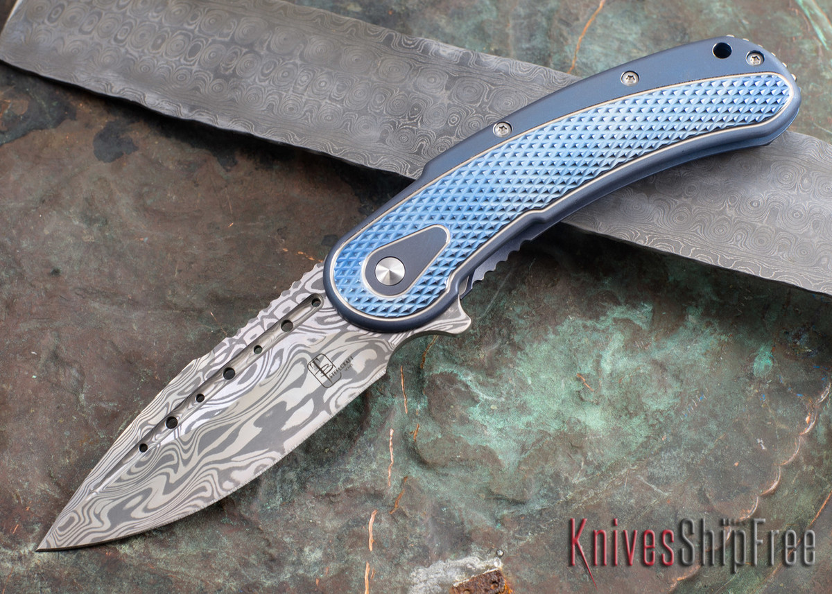 Todd Begg Knives: Steelcraft Series - Bodega - Blue Frame - Blue Diamond Pattern - Damasteel 101 primary image