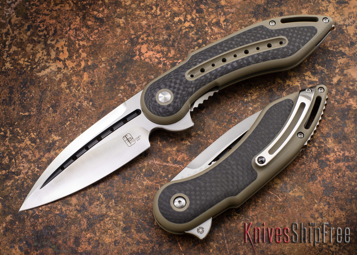 Todd Begg Knives: Steelcraft Series - Glimpse 7.0 - Desert Tan G-10 - Carbon Fiber Inlay - Fluted Blade primary image