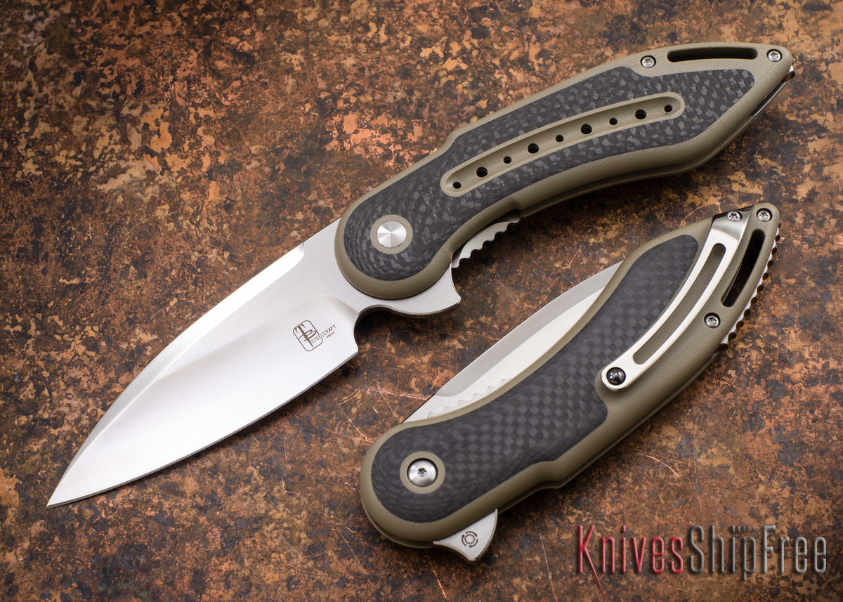 Todd Begg Knives: Steelcraft Series - Glimpse 7.0 - Desert Tan G-10 - Carbon Fiber Inlay primary image