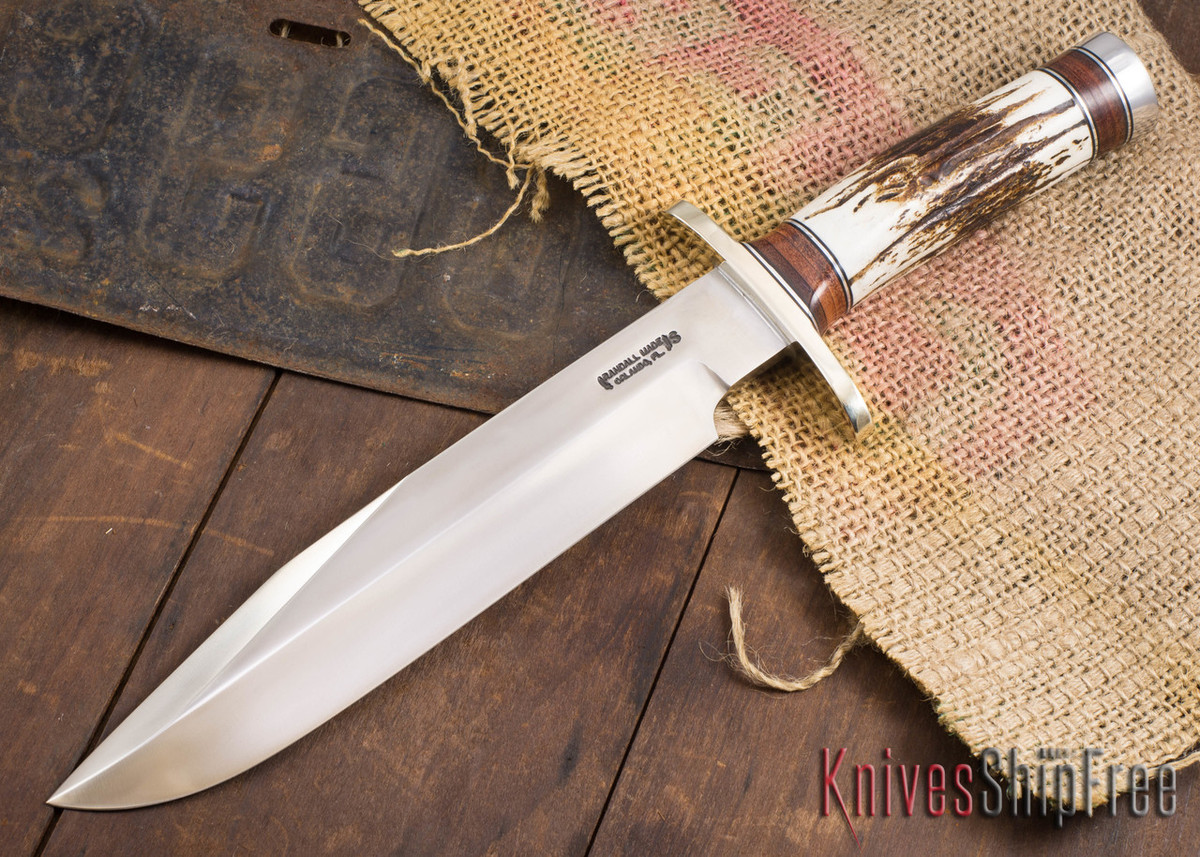 Randall Made Knives: Model 12-9 #14 Grind Sportsman Bowie - Stag & Stacked Leather - 120715 primary image