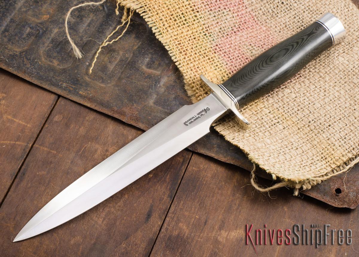 Randall Made Knives: Model 2-8 Fighting Stiletto - Black Micarta - 120911 primary image