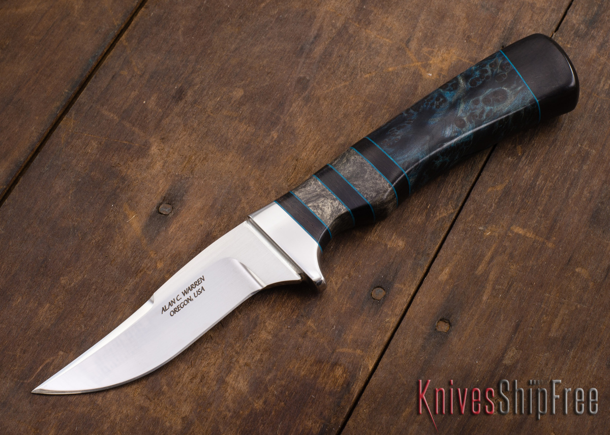 Alan Warren Knives: #2197 - Curvy Trailing Point Hunter - Blue Redwood - Buckeye Burl - Blackwood primary image
