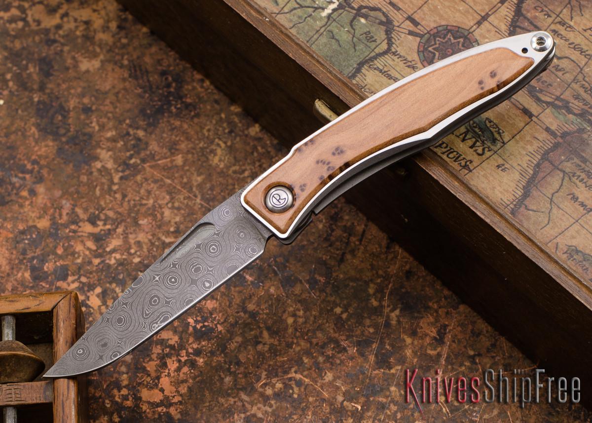 Chris Reeve Knives: Mnandi - Thuya Burl - Chad Nichols Raindrop Damascus - 121421 primary image