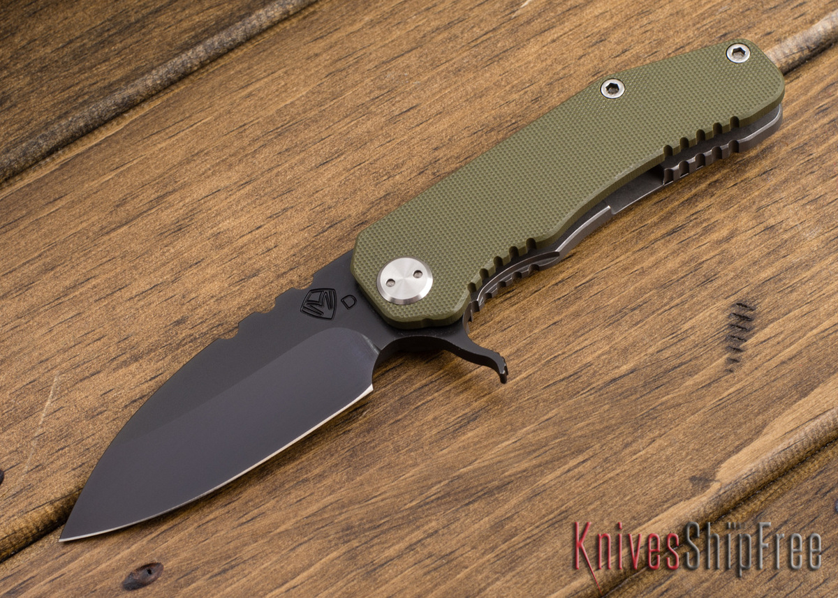 "Medford Knife & Tool: 187 ""F"" Flipper - OD Green G-10 / Ti - Gray PVD"