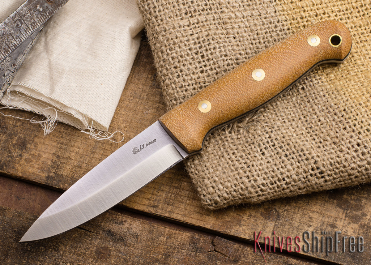 L.T. Wright Knives: GNS - Saber Grind - Natural Canvas Micarta - Matte - Black Liners primary image