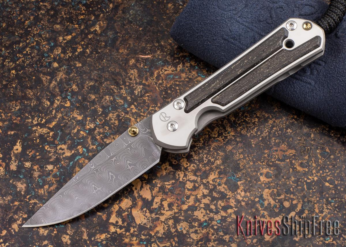 Chris Reeve Knives: Small Sebenza 21 - Bog Oak - Chad Nichols Raindrop Damascus - 011872 primary image
