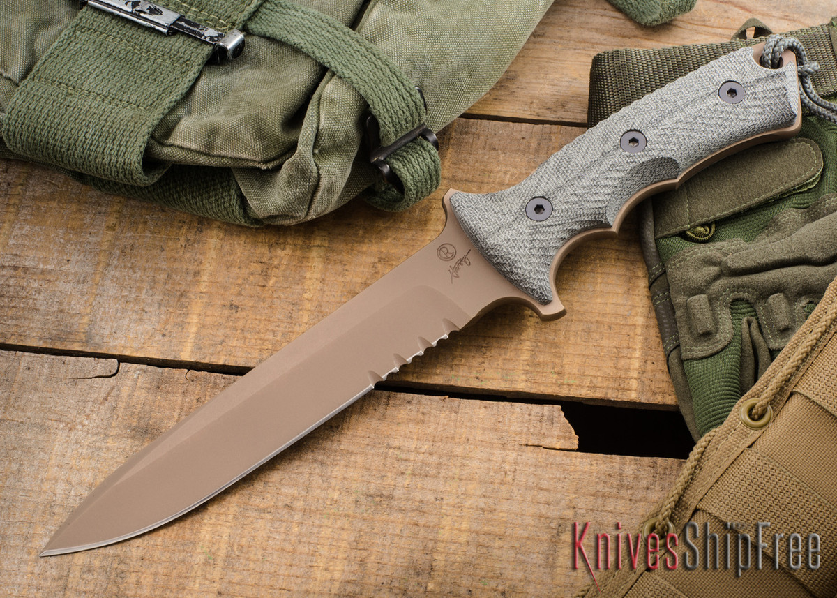 "Chris Reeve Knives: Green Beret - 7"" - Flat Dark Earth - Serrations"