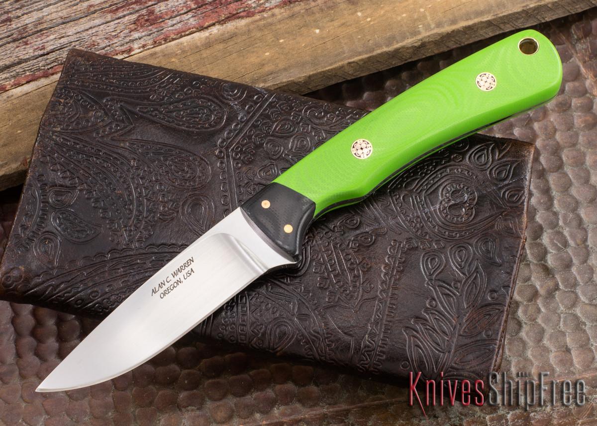 Alan Warren Knives: #1863 Custom Neck Knife - Toxic Green G-10 - Black G-10 Bolsters - Mosaic Pins primary image