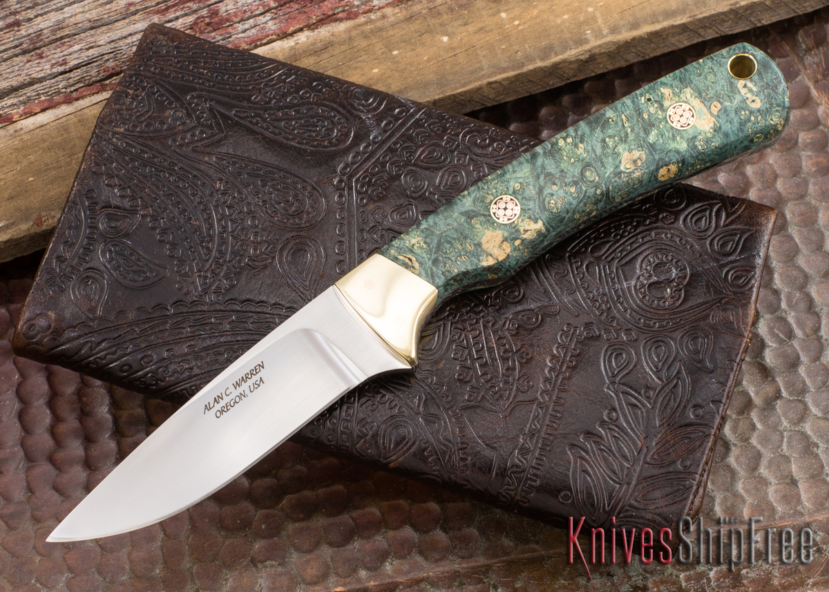 Alan Warren Knives: #1865 Custom Neck Knife - Box Elder - Mosaic Pins - Aluminum Bronze Bolsters primary image