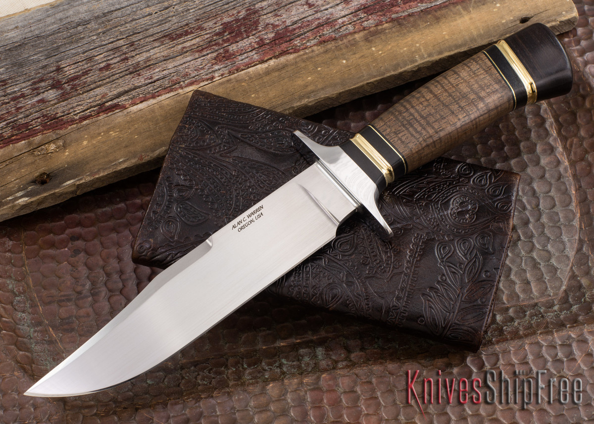 Alan Warren Knives: #2187 Bowie - 416 Guard - Stabilized Koa - Blackwood - Aluminum Bronze Accents primary image
