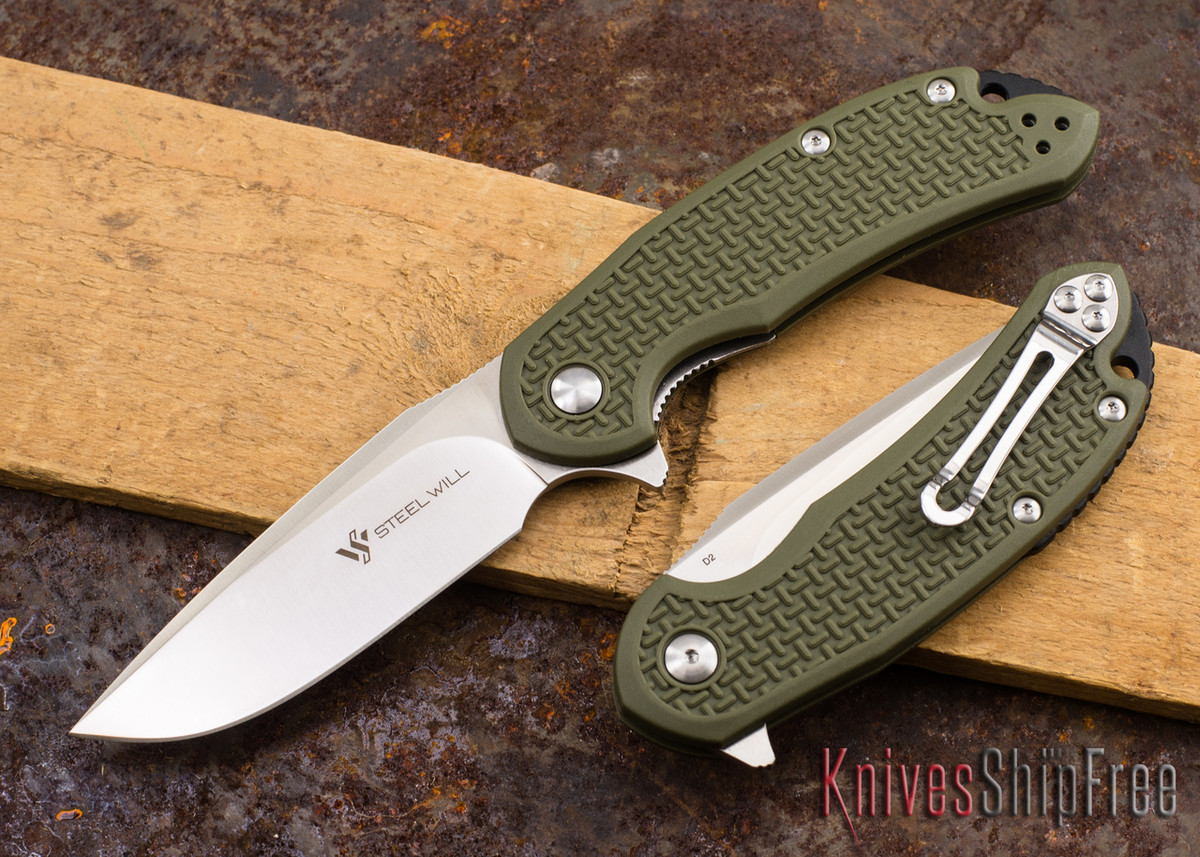 Steel Will Knives: Cutjack - OD Green FRN - D2 Steel