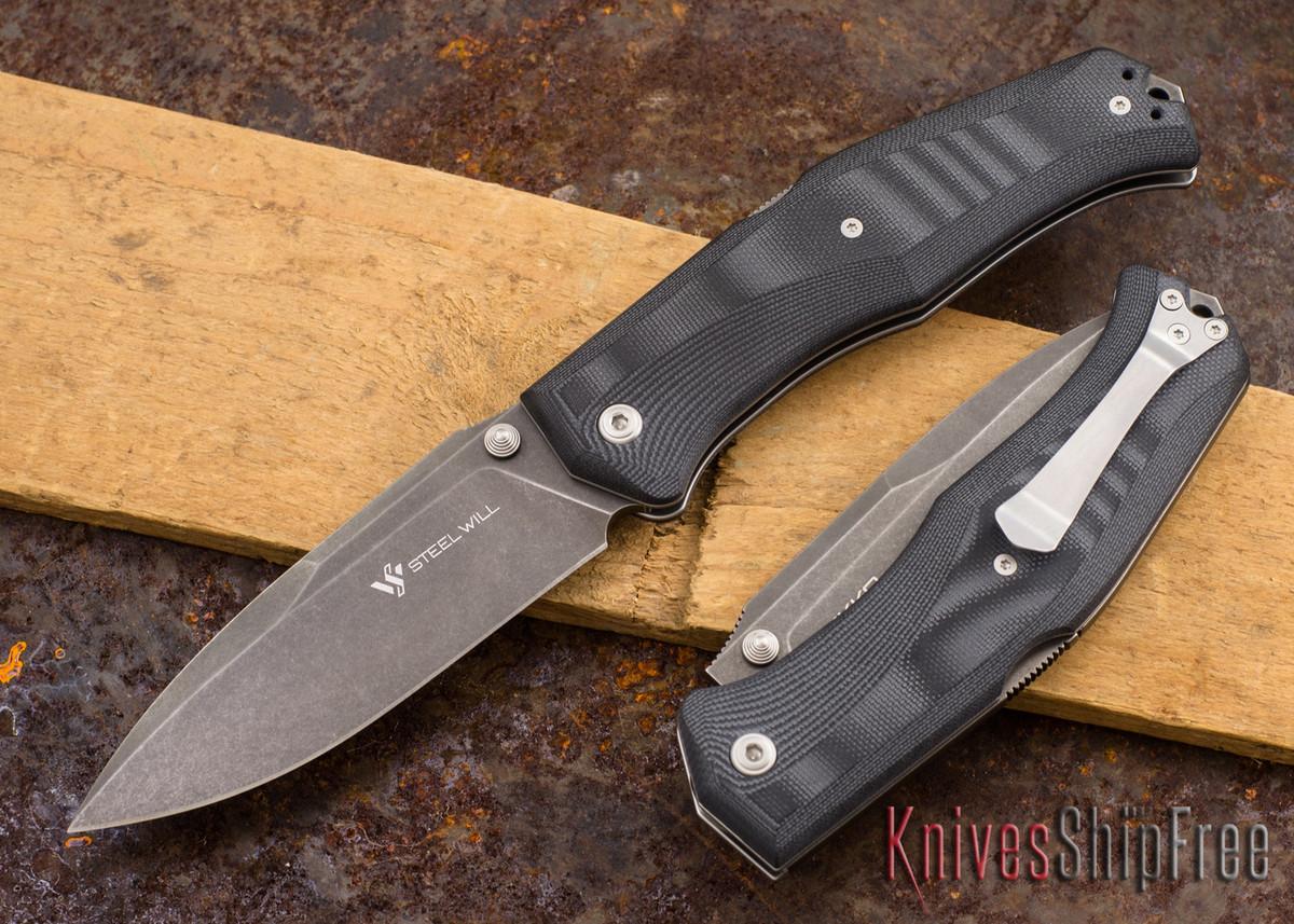 Steel Will Knives: Gekko 1509 - Black G-10 - M390 Steel - Dark Stonewash primary image