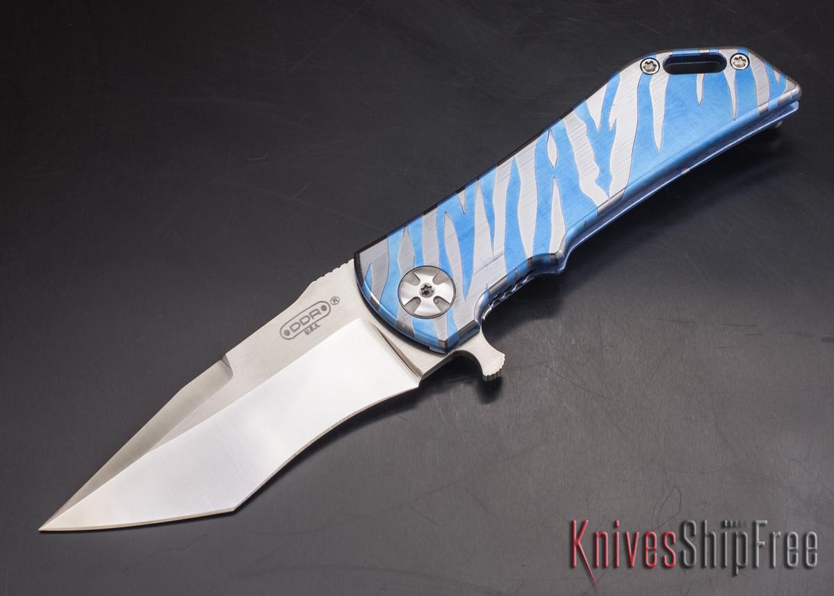 Darrel Ralph - DDR Knives: Dominator 3.5 - CPM-S35VN - Titanium Framlock - Blue Tiger - Recurve Tanto primary image