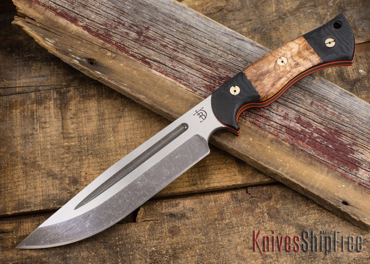 Dark Timber Knives: Honey Badger - CPM 3V - Black Micarta / Maple Burl - Orange Liners - Acidwash primary image